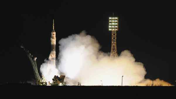 A Russian Soyuz TMA-21 rocket with an International space crew of a US astronaut Ron Garan and Russian cosmonauts Alexander Samokutyayev and Andrei Borisenko blasts off from a Russian-leased Kazakh Baikonur cosmodrome to the International Space Station (ISS) on April 5, 2011