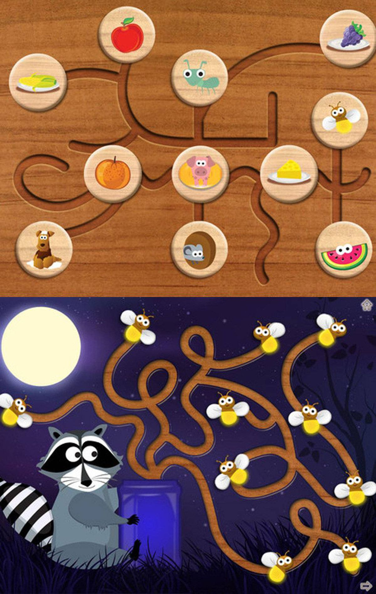 Wood Puzzle Maze HD (iPad) Most kindergarten classes have one or more wooden puzzle toys, with big chunky pieces that can be removed then replaced with a satisfying click. The best-selling Wooden Puzzle apps reproduce this experience virtually. This new app for iPad includes 14 different puzzles designed to help toddlers and preschoolers develop logic and fine motor skills. Slide the pieces through the maze just for fun, or to accomplish a puzzle objective -- feeding the animals, for example, or capturing fireflies in a jar. See the App Store for other Wood Puzzle apps with sports and holiday themes. ($1.99, http://www.tropisounds.com)