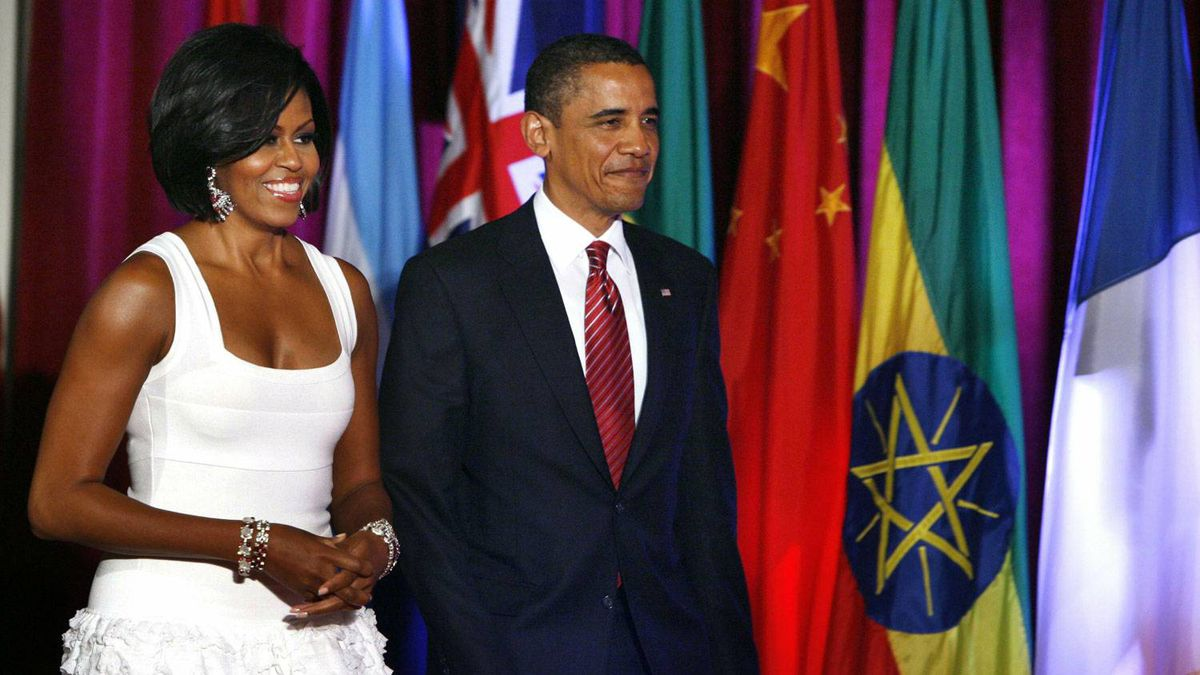 Michelle Obama's knee-length number comes courtesy of Paris-based designer Azzedine Alaia.