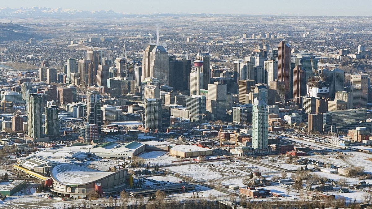 Wednesday, December 02, 2009 - Calgary, Alberta - An aerial view of the downtown of Calgary, AB.