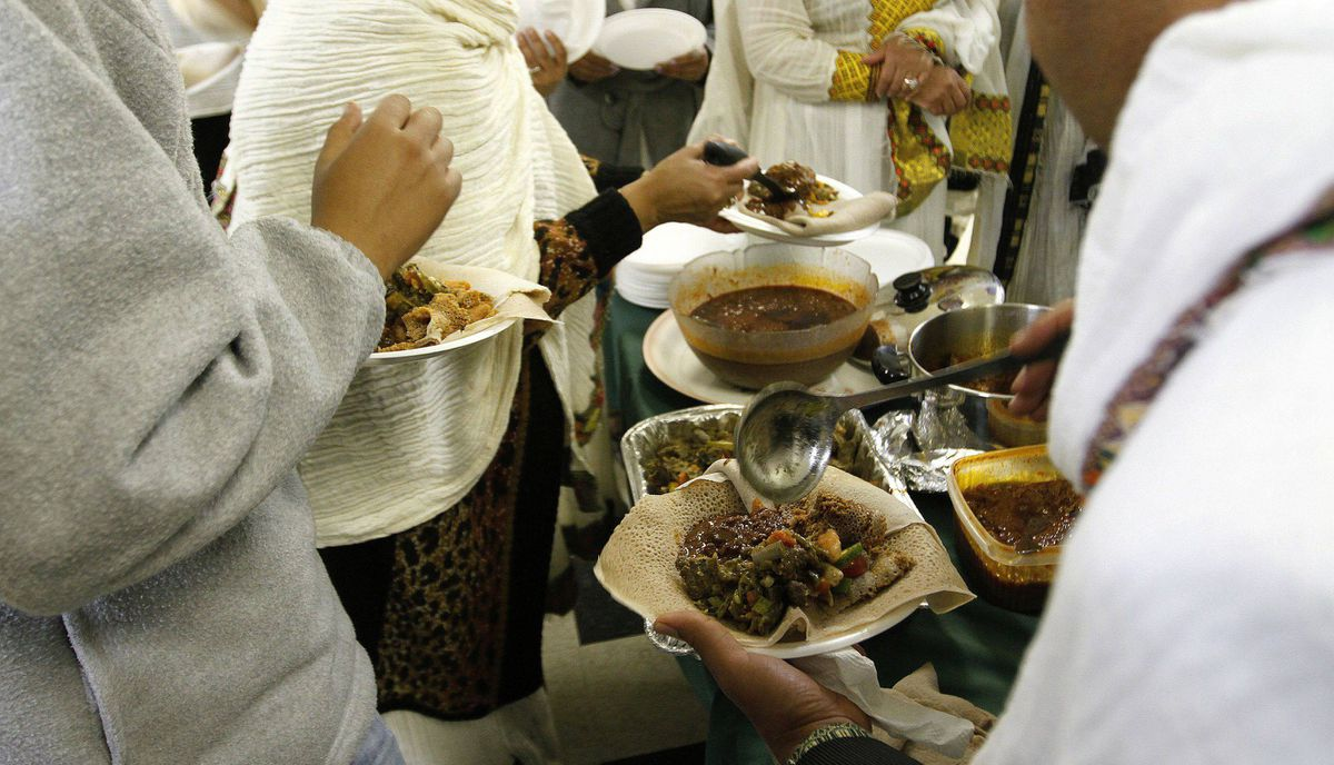 Members of the Ethiopian Community from GTA celebrate with a dinner the end of the Ethiopian Easter, or Fasika, at the St. Mary's Ethiopian Orthodox church on Tycos Drive, Toronto April 14, 2012,