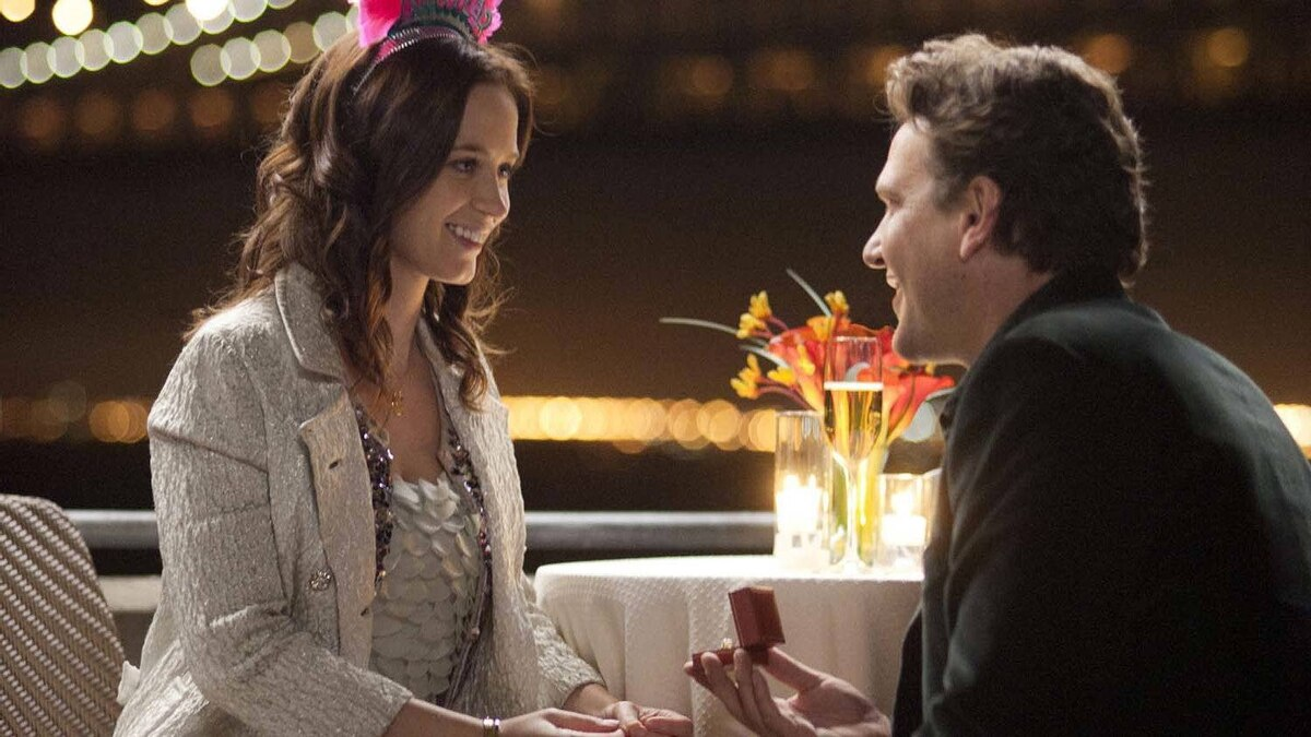 """Jason Segel, right, and Emily Blunt in what is presumably an early scene from """"The Five-Year Engagement"""""""