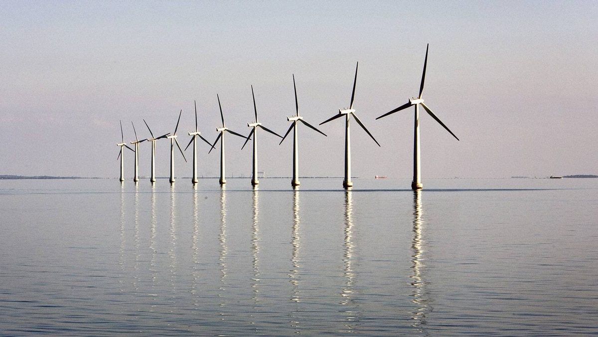 An offshore wind farm near the Danish island of Samso. An Ontario company is presssing ahead with plans to build a similar complex in Lake Ontario near Kingston, despite a provincial government ban. REUTERS/Bob Strong
