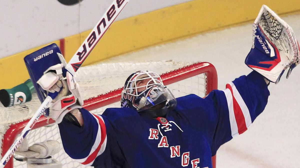 New York Rangers goalie Henrik Lundqvist celebrates after the Rangers defeated the Washington Capitals in Game 7 of their NHL Eastern Conference semi-final playoff hockey game at Madison Square Garden in New York May 12, 2012. REUTERS/Shannon Stapleton