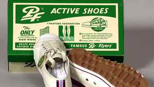 1937 PF Flyers (for Posture Foundation) hit the market with an 'action wedge,' which helps distribute weight evenly and reduce leg strain.