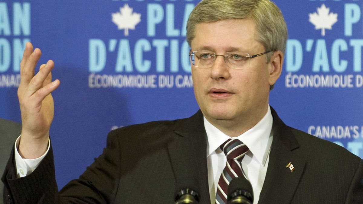 Prime Minister Stephen Harper holds a news conference at a paper plant in Windsor, Que., on Jan. 6, 2011.