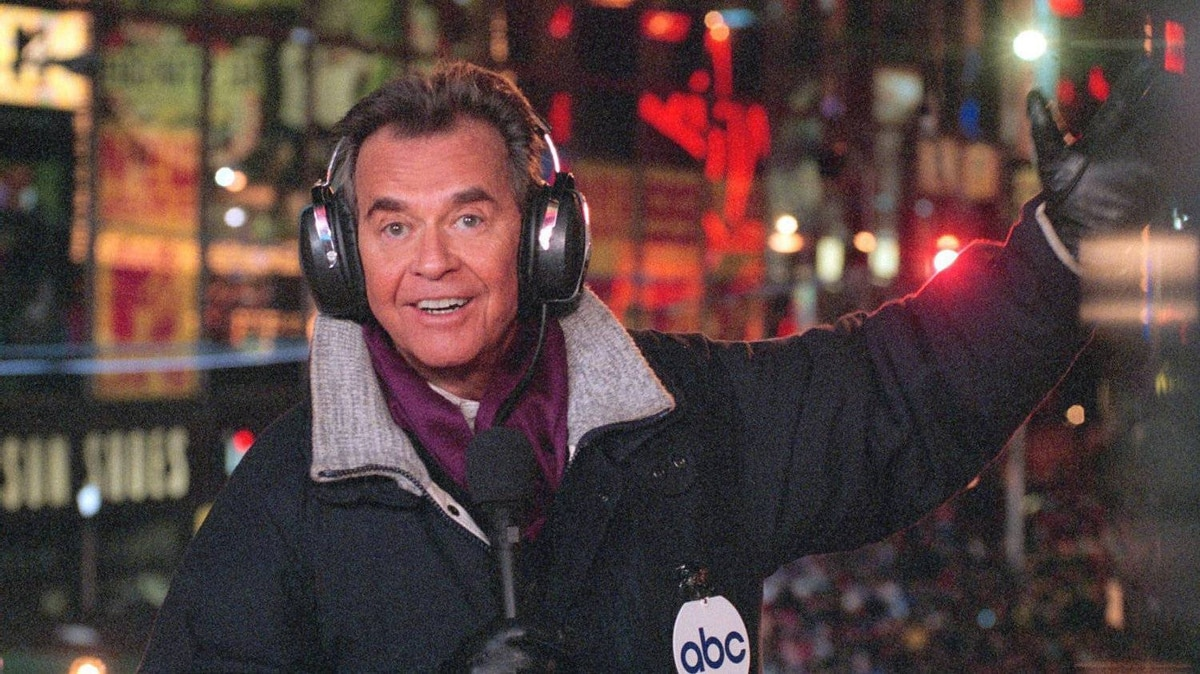 """In this undated file photo released by ABC, Dick Clark hosts the New Year's eve special from New York's Times Square. Clark, the television host who helped bring rock `n' roll into the mainstream on """"American Bandstand,"""" has died. He was 82."""