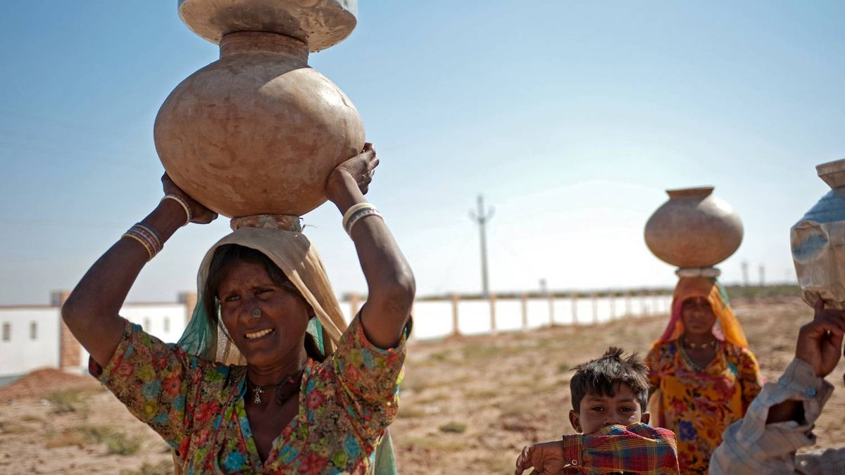 Women planting onions and transporting water in rural Rajasthan, India.