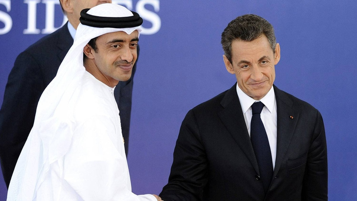 Sarkozy welcomes United Arab Emirates foreign minister Sheikh Abdullah bin Zayed al-Nahayan to Cannes.