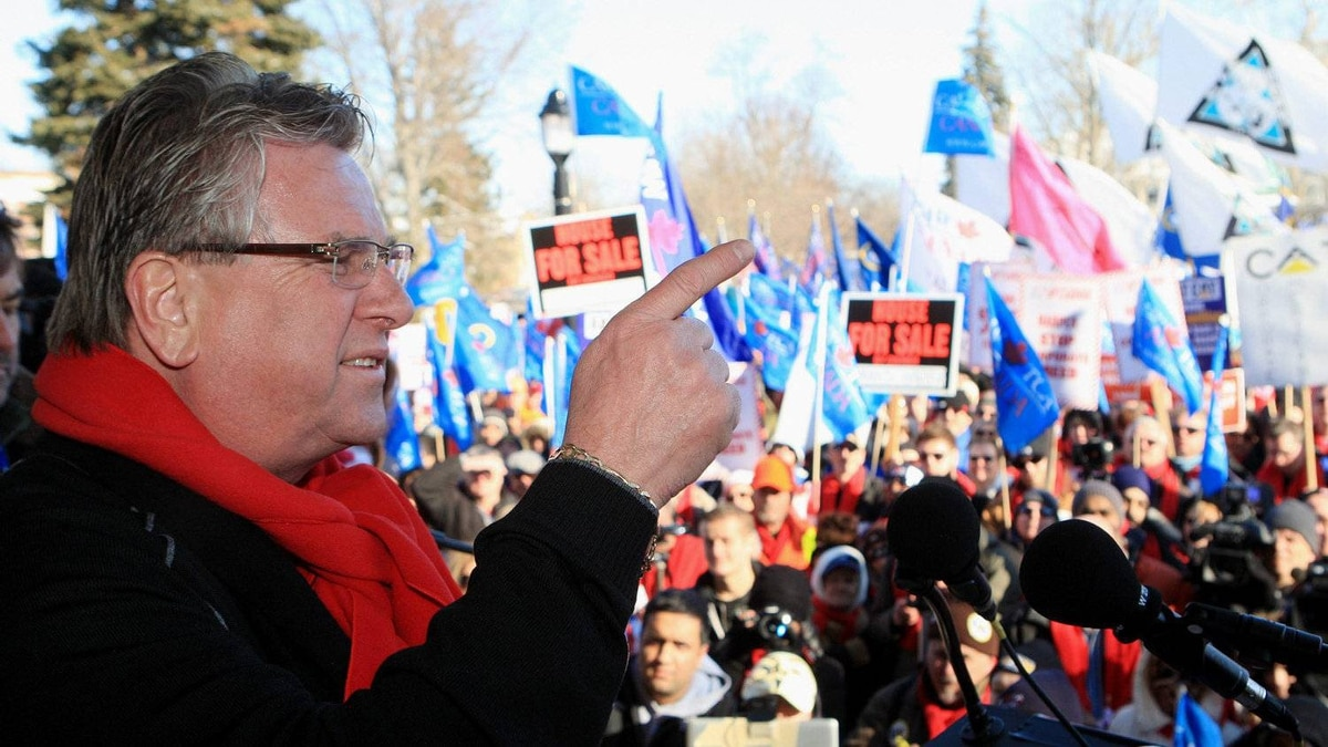 """Ken Lewenza, CAW National President, speaks to a a rally dubbed a """"London Day of Action Against Corportate Greed"""", in London, Ontario, Saturday, Jan. 21, 2012."""