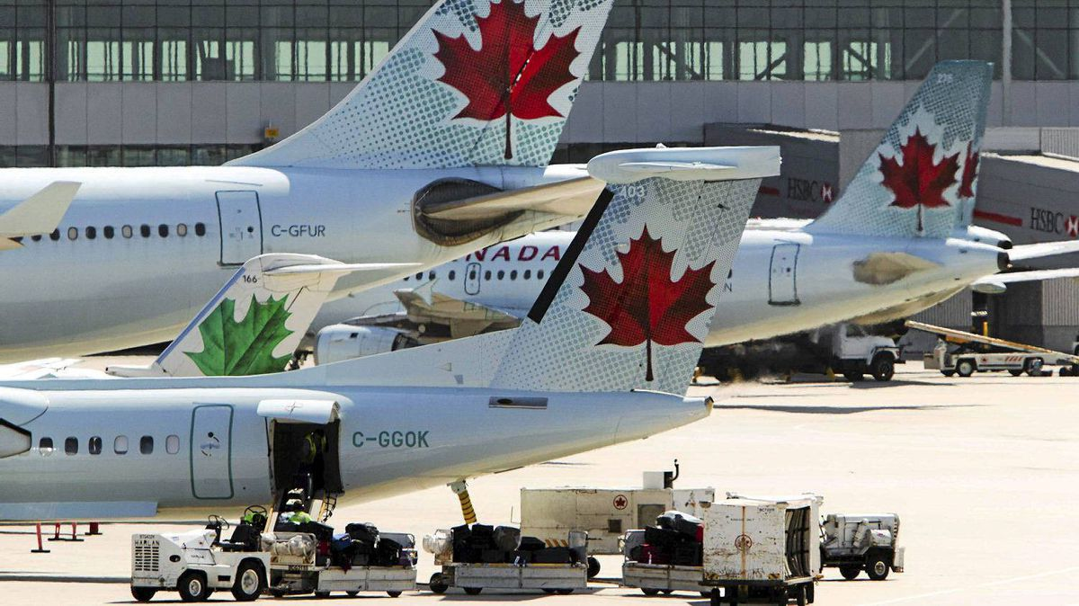 Air Canada aircraft are seen on the tarmac at Toronto Pearson International Airport.
