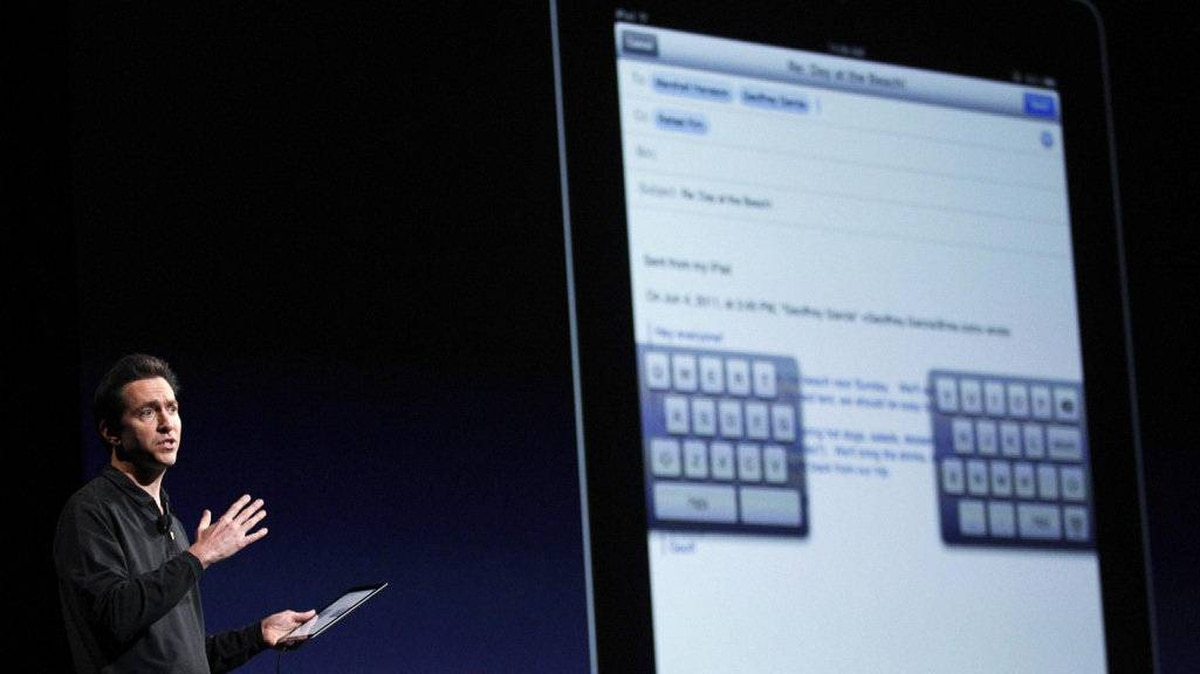 Scott Forstall, Senior Vice President of iOS Software at Apple Inc., talks about iOS5 for the iPhone at the Apple Worldwide Developers Conference in San Francisco, California, June 6, 2011.
