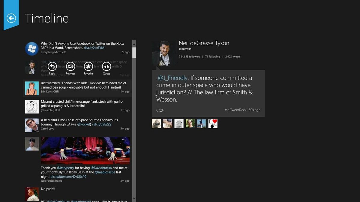 Here's a good example of how those fullscreen apps look: Tweetro is one of the better Windows 8 Twitter apps.