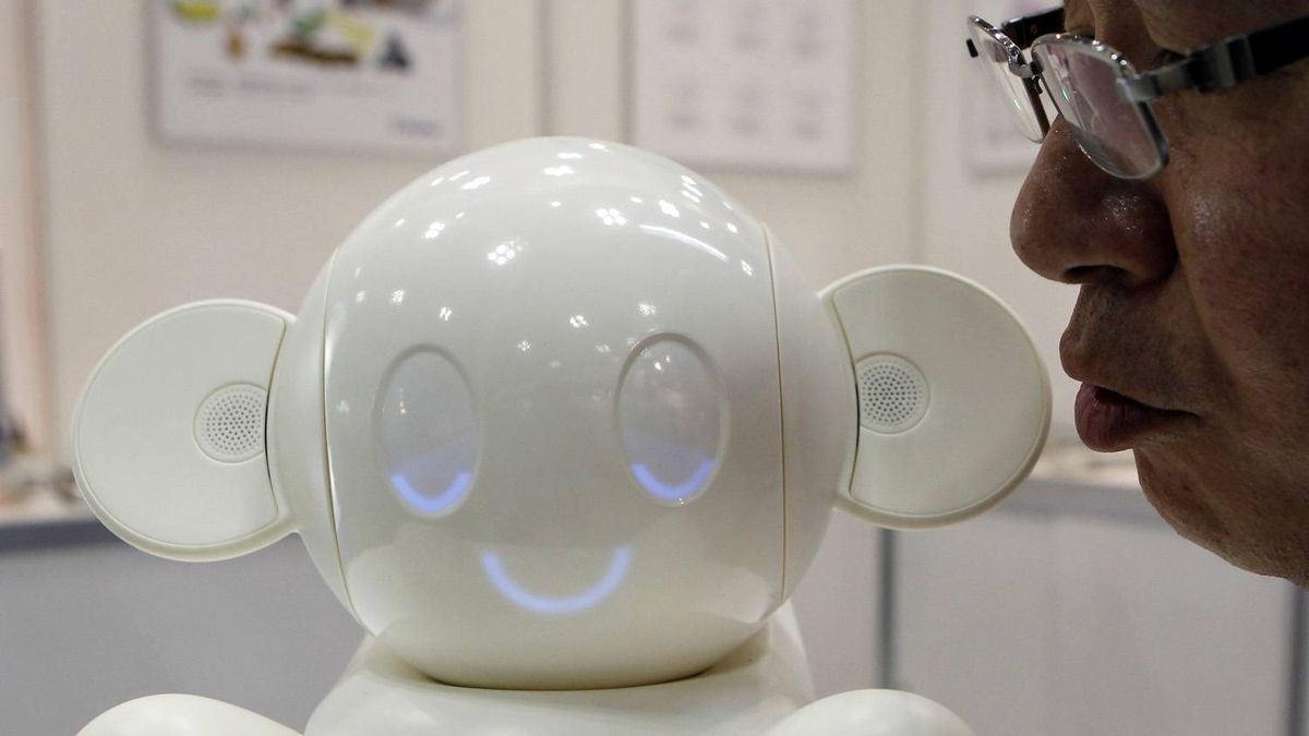 A man talks to RayTron's household robot, Chapit. The robot responds to words it recognises with facial expressions, gestures and its own rudimentary sentences. At the moment, it is marketed as a sort of verbal universal remote for home electronics.