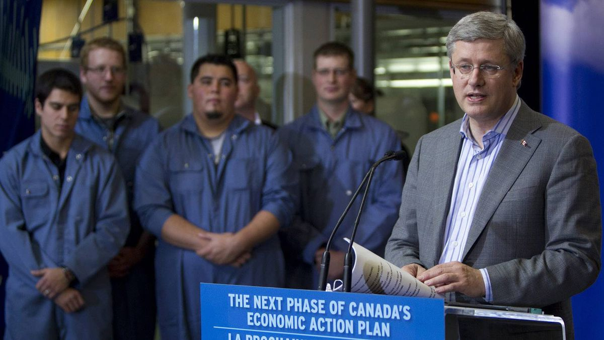 Prime Minister Stephen Harper addresses a gathering as he opens new facilities at the Northern Lights College in Dawson Creek, B.C., Saturday, Oct. 15, 2011.