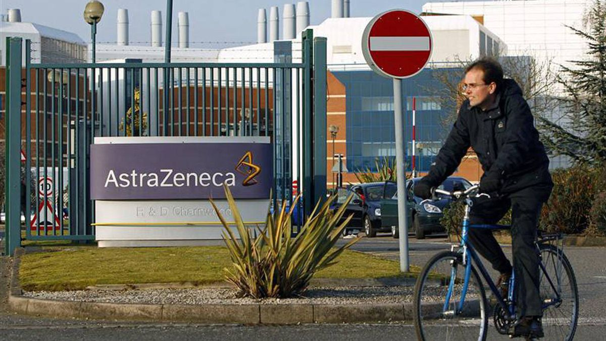 A worker leaves the AstraZeneca research facility in Loughborough,