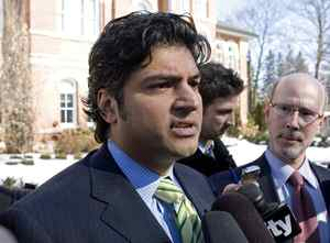 Former Conservative MP Rahim Jaffer leaves court in Orangeville, Ont., on March 9, 2010, after pleading guilty to careless driving.