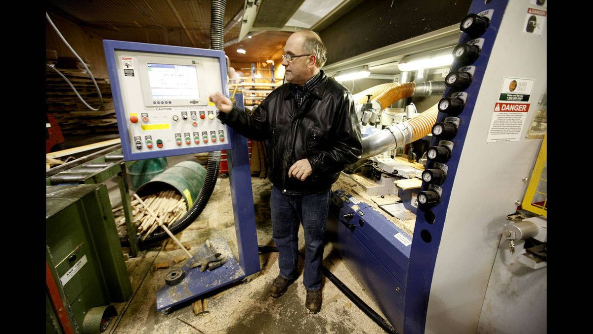 Dennis McGlynn of South Bruce Flooring stands in his hardwood flooring plant in Mildmay, Ont.