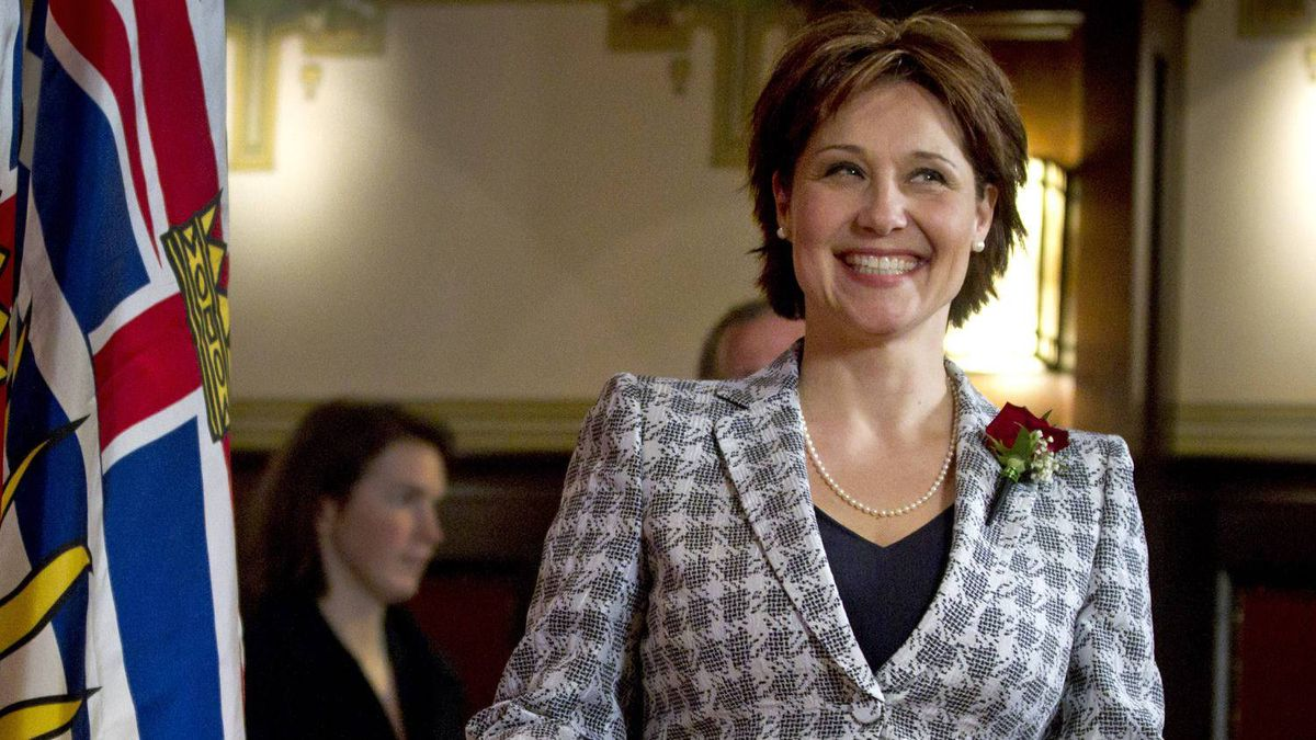Christy Clark makes her way to a news conference at Government House in Victoria after she was sworn in as B.C. Premier on March 14, 2011.