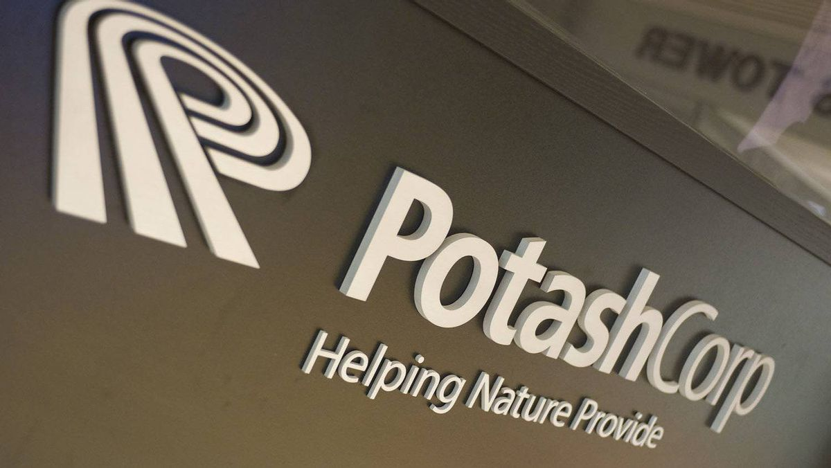 The Potash Corp logo at the entrance of the company's office tower in downtown Saskatoon, SK. on November 3rd, 2010.