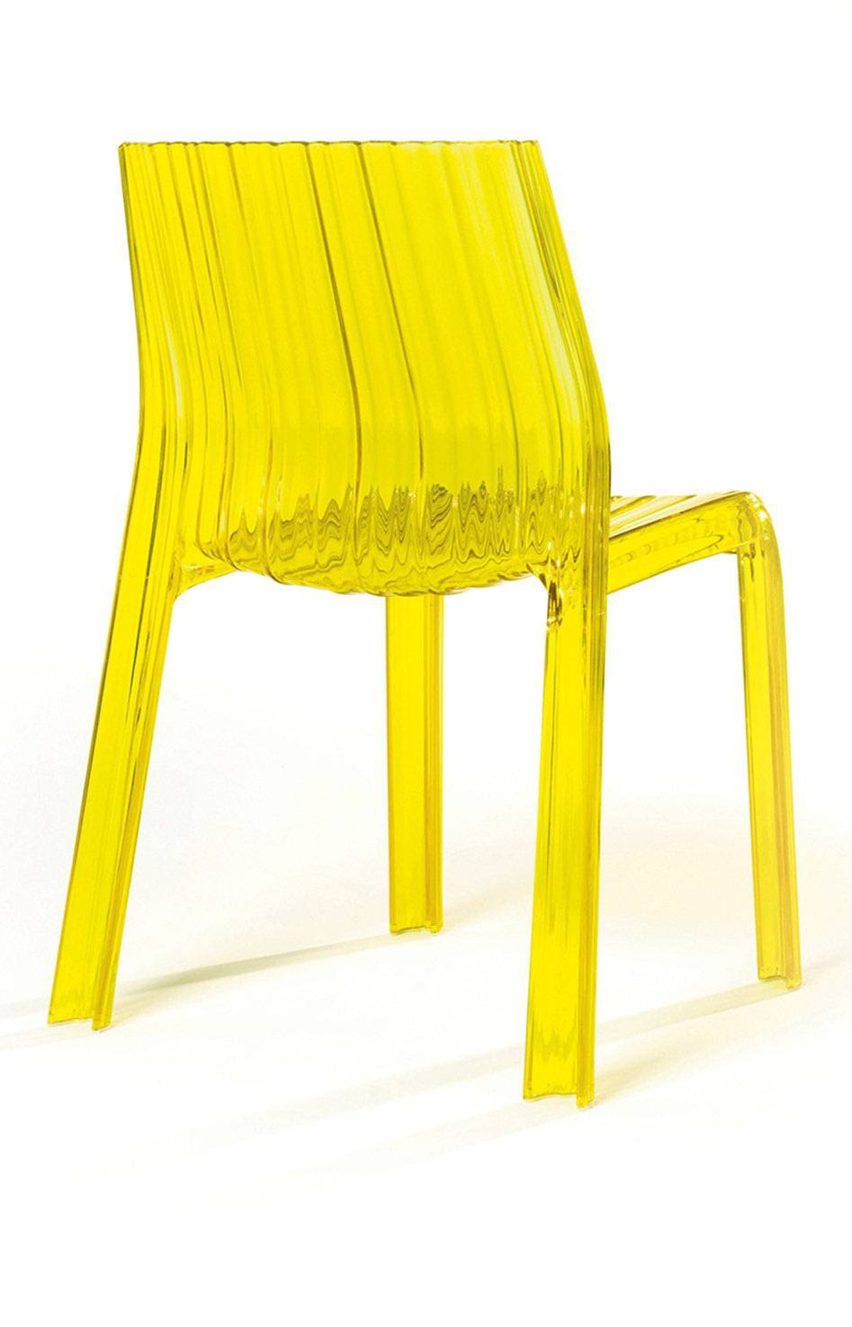 Juice up a front hall, den or terrace with a lemony-yellow pleated Lucite chair suitable for use indoors and out. Kartell's Frilly chair, $329 at Quasi Modo Modern (www.quasimodomodern.com).
