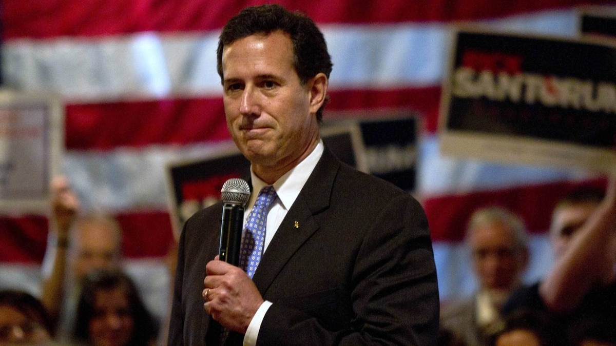 Republican presidential candidate and former U.S. Senator Rick Santorum addresses supporters at a rally at The Ravine in the Town of Bellevue Wisconsin March 24, 2012. Santorum continues a full day of campaign stops in Wisconsin on the day of Louisiana's primary.
