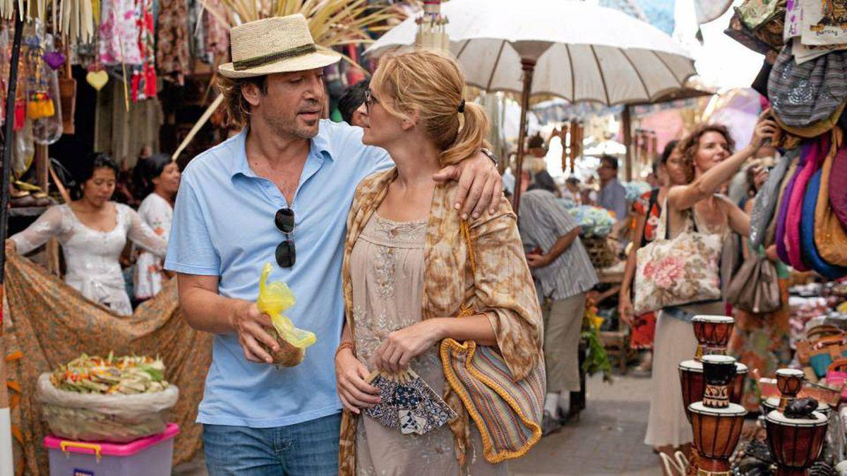 Javier Bardem and Julia Roberts in Eat Pray Love.