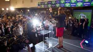 Wildrose Leader Danielle Smith waves to the crowd during her concession speech. Wildrose lost, but it took a giant step toward government