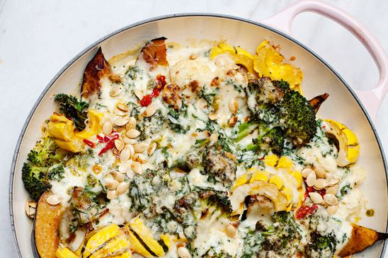 Take roasted vegetables to a new level with cheese sauce infused with garlic and thyme