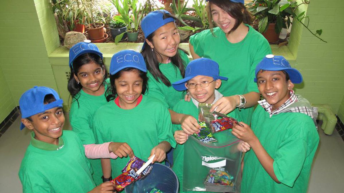 """Toronto's Rose Avenue Junior Public School students, part of the school's E.C.O.Team, collect empty drink pouches for TerraCycle Inc. to """"upcycle"""" into products like pencil cases."""