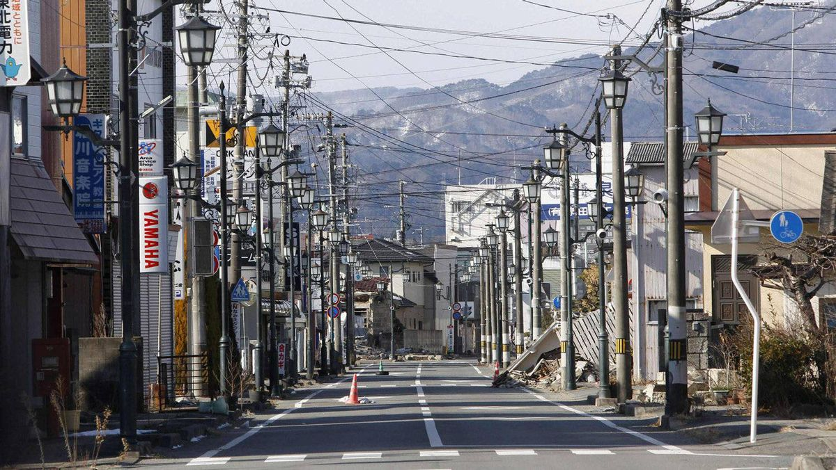 An empty shopping street is seen in Namie town, inside the exclusion zone around the crippled Fukushima Daiichi nuclear power plant.