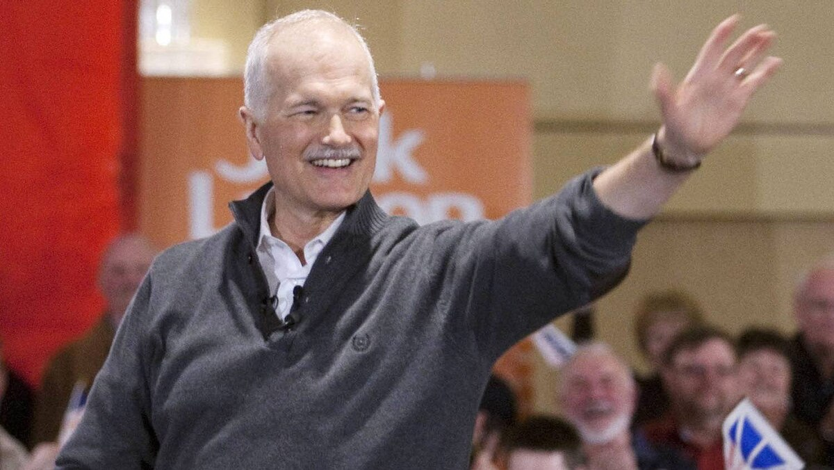 NDP Leader Jack Layton waves to supporters at a rally Saturday, April 16, 2011, in St.John's, NL.