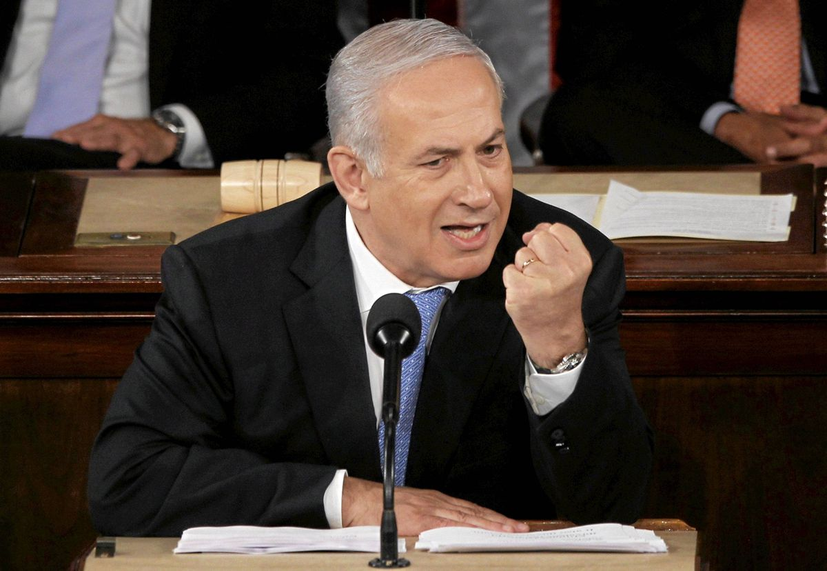 Israel's Prime Minister Benjamin Netanyahu makes a point as he addresses a joint meeting of Congress in Washington, May 24, 2011.