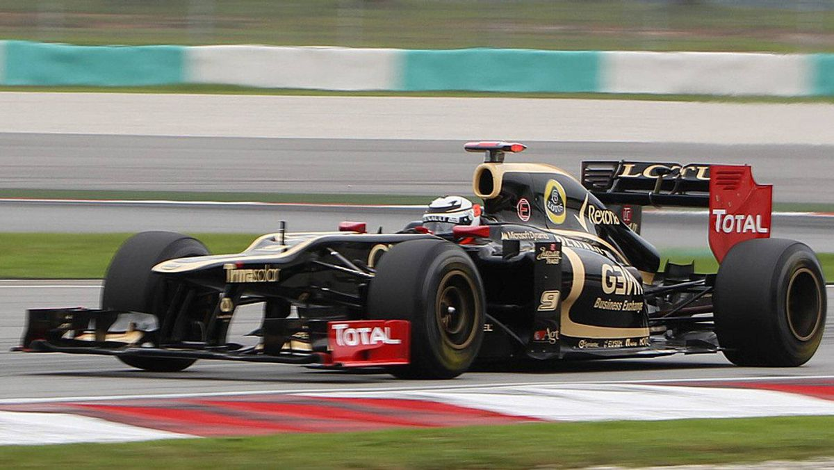 Lotus driver Kimi Räikkönen steers his car during the third practice session at the Malaysian Formula One Grand Prix in Sepang on Saturday, March 24, 2012.