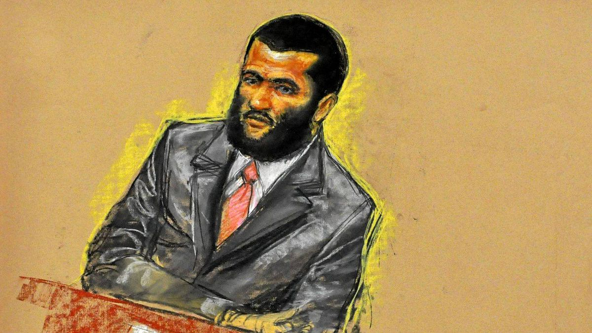 A courtroom sketch of Omar Khadr, 24, who has been detained at Guantanamo Bay for nine years.