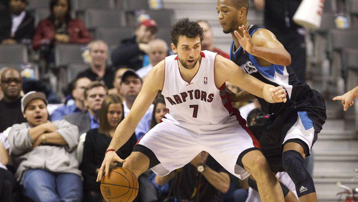 The Toronto Raptors' Andrea Bargnani drives to the basket against Minnesota Timberwolves' Anthony Randolph in the first half on Jan. 9, 2012.