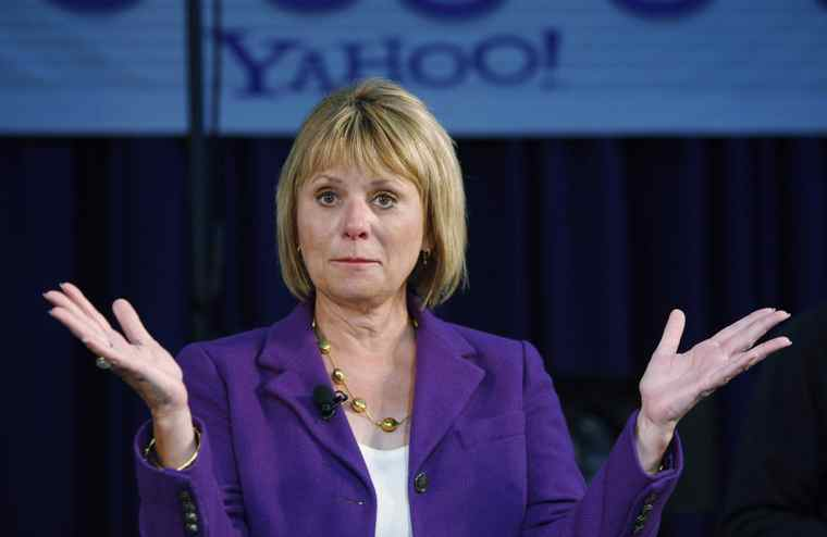 In this March 2, 2010 file photo, Yahoo CEO Carol Bartz gestures at Yahoo headquarters in Sunnyvale, Calif. Bartz was fired from Yahoo Monday after two and a half years as CEO. Tim Morse, the company's chief financial officer, was named interim CEO.