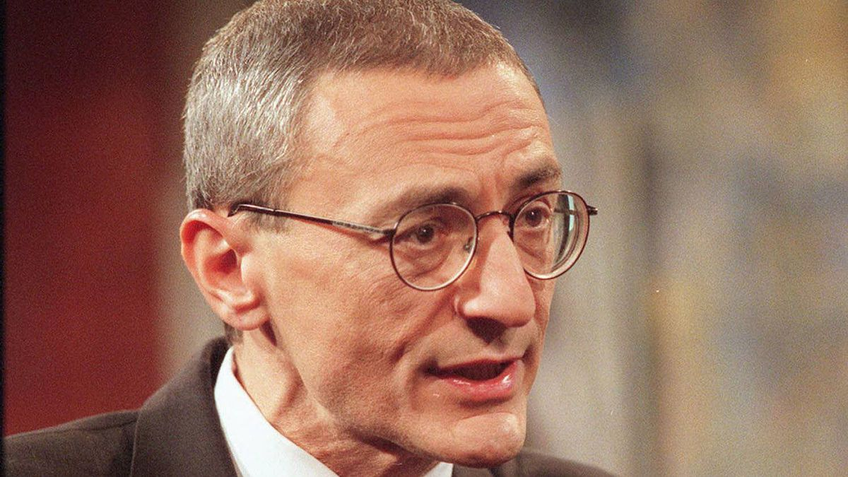 White House Chief of Staff John Podesta talks about the FY2001 Budget, set for release Monday, Feb. 7, 2000, during the taping of Fox News Sunday at the Fox studios in Washington Sunday, Feb. 6, 2000.