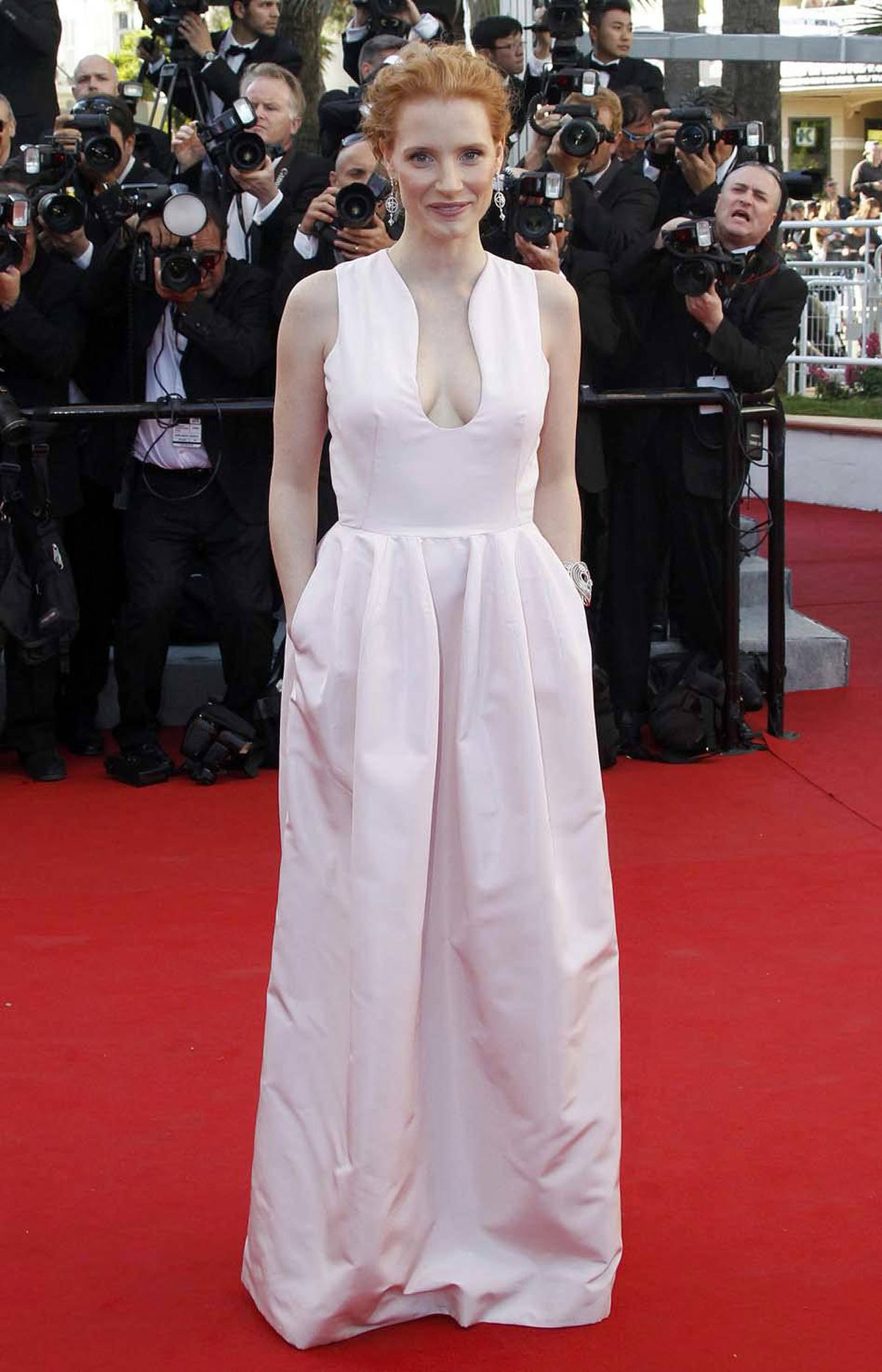 "Actress Jessica Chastain, on the red carpet for ""Moonrise Kingdom"" at the Cannes Film Festival on Tuesday, worries that people don't know that Cannes is pronounced ""can"" and won't get the brilliant pun in the previous caption."