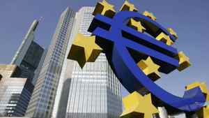 The Euro sculpture in front of the headquarters of the European Central Bank (ECB) in Frankfurt