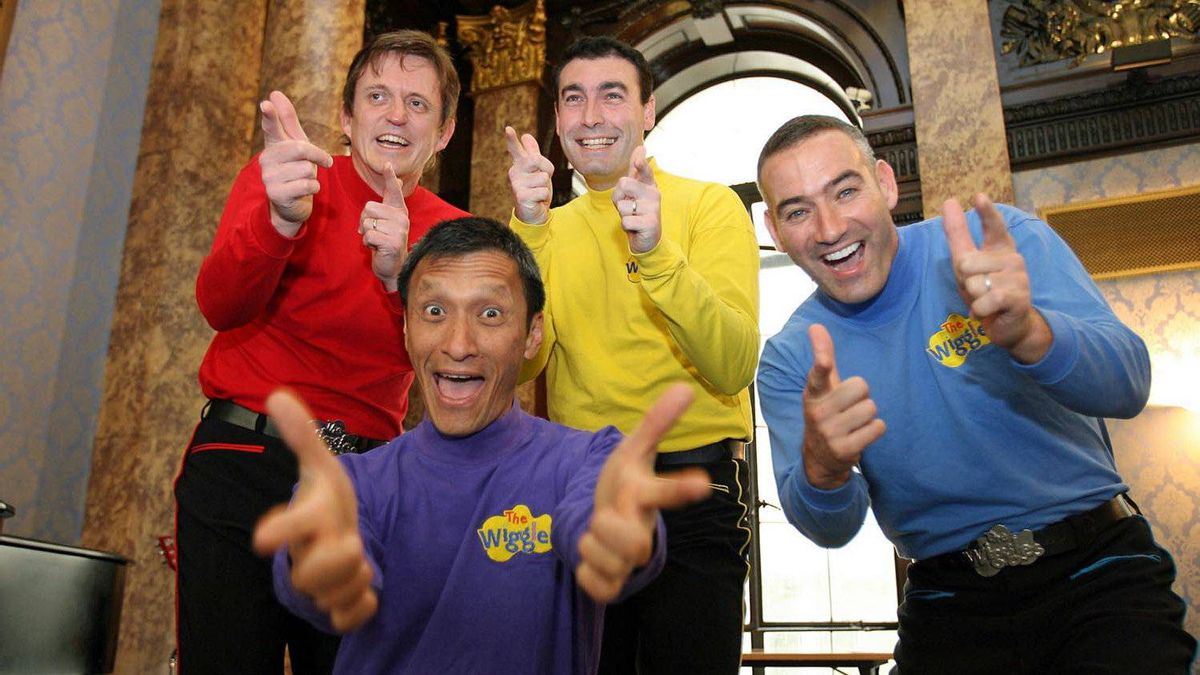 In this June 28, 2006 file photo, Australian children's entertainers The Wiggles, Murray Cook (Red Wiggle), Greg Page (Yellow Wiggle), Jeff Fatt (Purple Wiggle), and Anthony Field (Blue Wiggle) make a special appearance at the Australian High Commission in London at the start of their UK tour.