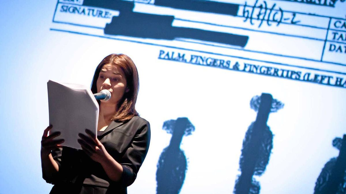 The actress America Ferrera reads from the transcript of a Guantanamo Bay military tribunal.at the Sundance Film Festival.