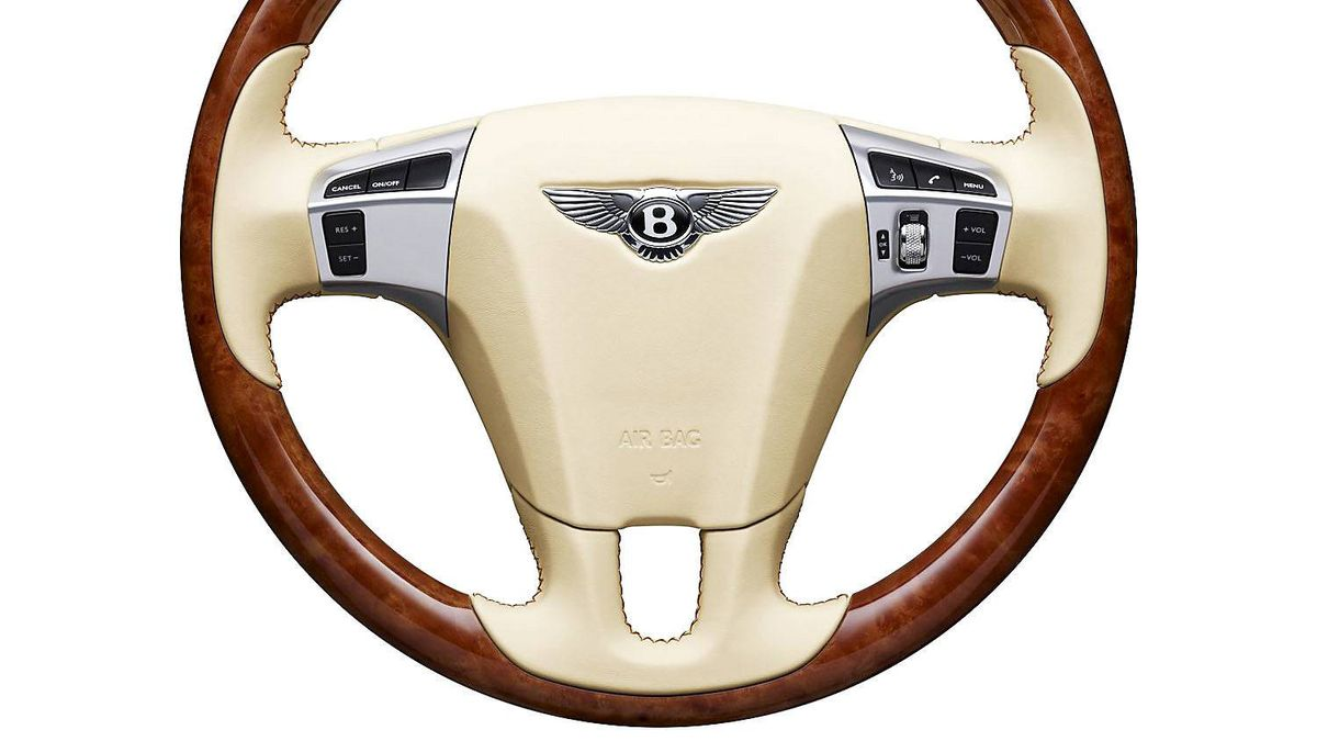 The steering wheel leather is stitched by hand. It takes up to 17 hours per wheel, and only four people in the company's Crewe, England factory can do it.