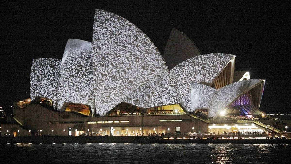 The sails of the Sydney Opera House are lit during the Vivid Sydney Festival in Sydney May 27, 2010.