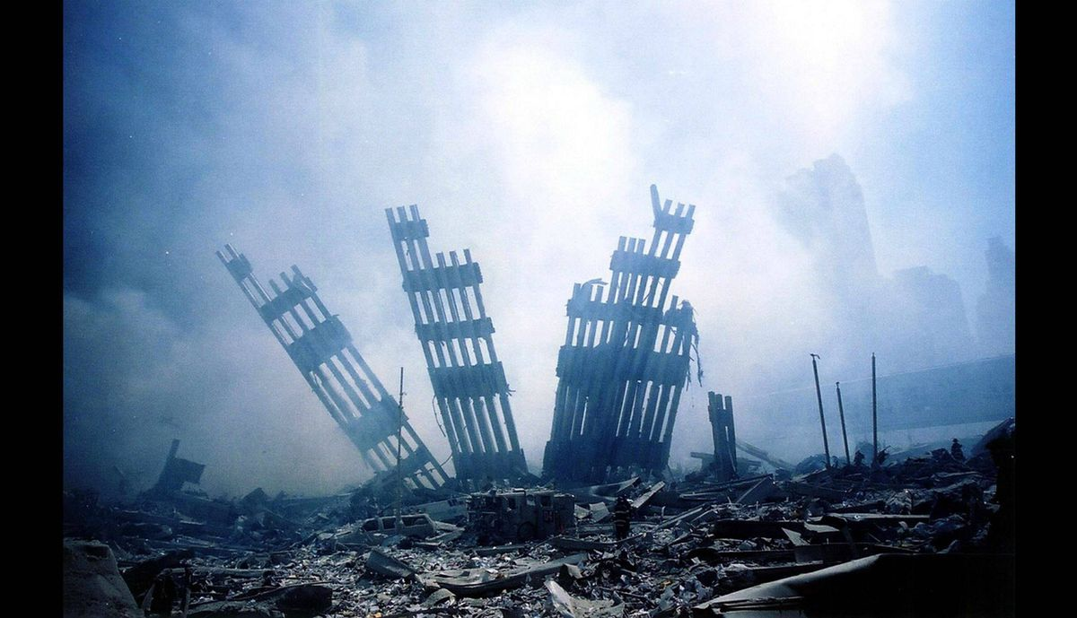 The rubble of the World Trade Center smoulders following a terrorist attack on Sept. 11, 2001 in New York.