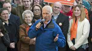 NDP Leader Jack Layton addresses a campaign rally in Saint John on April 25, 2011.