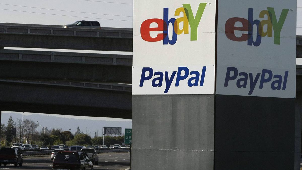 An eBay/PayPal sign is shown in San Jose, Calif.