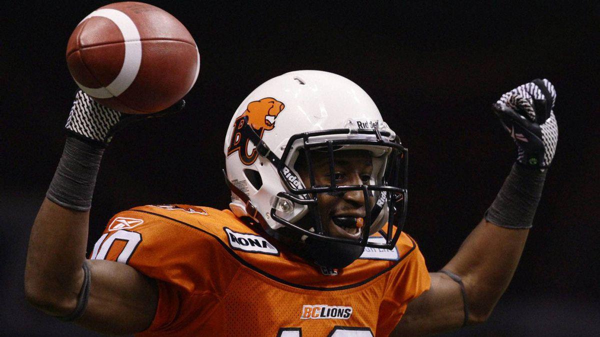 B.C. Lions wide receiver Kierrie Johnson celebrates his touchdown in the third quarter.