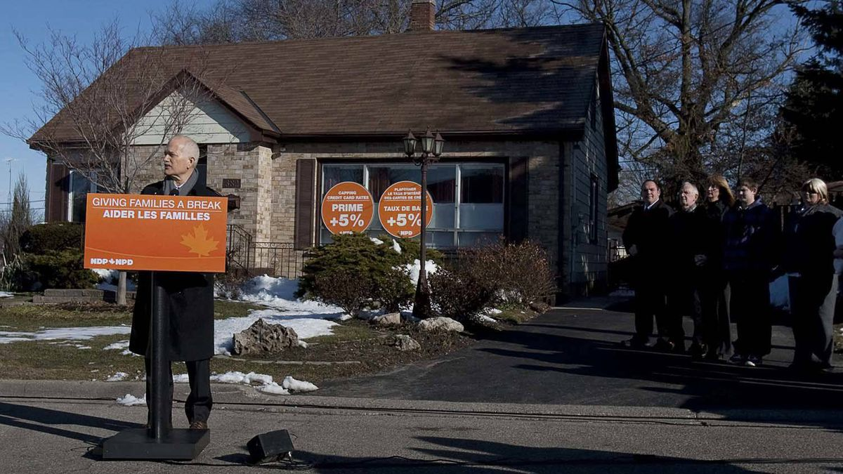 NDP leader Jack Layton also spent the day in the vote-rich suburbs of Toronto, stopping in at the home of a middle-class couple in Brantford, Ont. and pledging to cap credit-card rates at five percentage points above prime. He later spent part of the day campaigning in Kitchener, Ont.