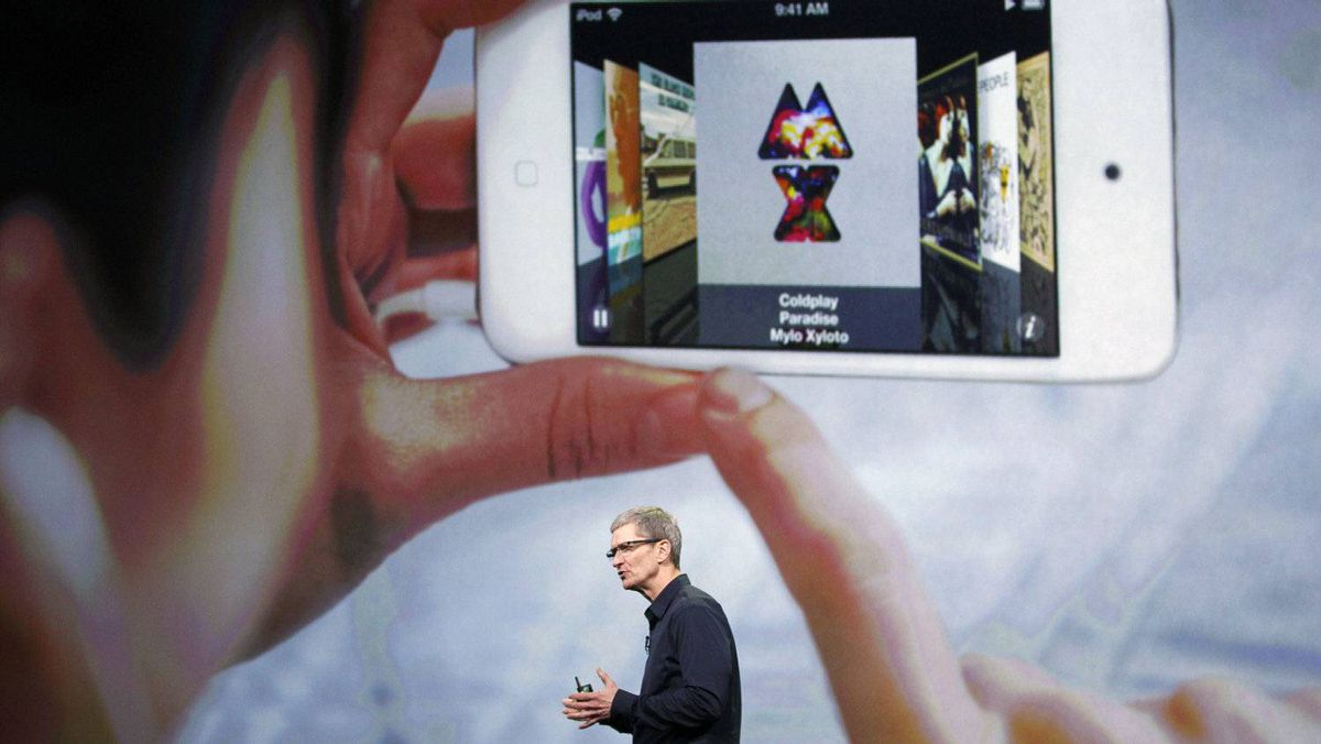 Apple CEO Tim Cook speaks during an Apple event in San Francisco, March 7, 2012.
